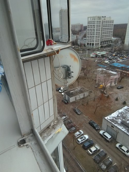 Демонтировать спутниковую тарелку на балконе