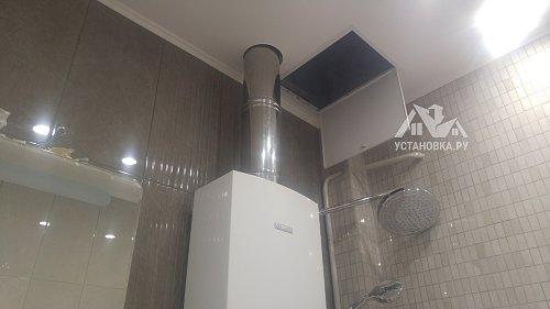 Соединить части воздуховода для газовой колонки